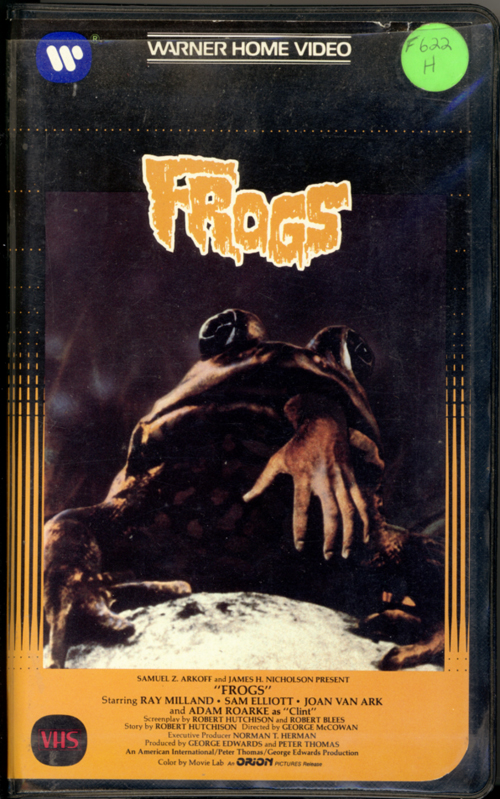 Frogs VHS cover art. Horror movie starring Ray Milland, Sam Elliott, Joan Van Ark, Adam Roarke, Judy Pace, Mae Mercer. Directed by George McCowan. 1972.
