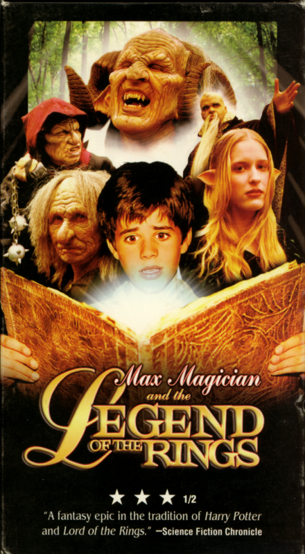 Max Magician and the Legend of the Rings VHS cover art. Movie starring Timothy Stultz, Ken Mitzkovitz, Erika Ann, Steven Barry Prince. Directed by Kevin Summerfield. 2002.
