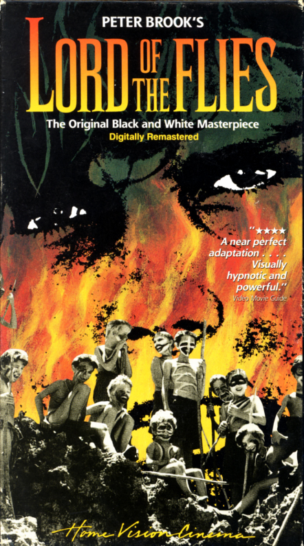 Lord of the Flies VHS cover art. Adventure drama thriller movie starring James Aubrey, Tom Chapin, Hugh Edwards, Roger Elwin. Directed by Peter Brook. Based on the novel by William Golding. 1963.