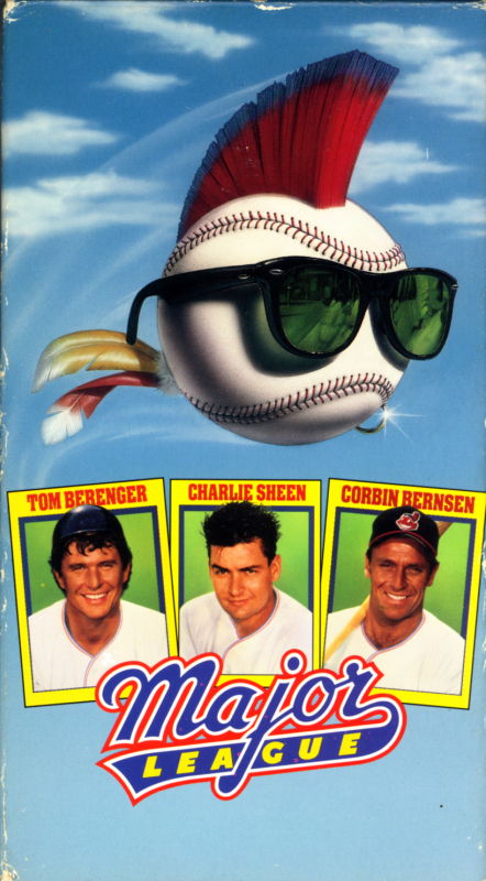 Major League VHS cover art. Comedy sport movie starring Tom Berenger, Charlie Sheen, Corbin Bernsen. With Margaret Whitton, James Gammon, Rene Russo, Bob Uecker, Wesley Snipes, Charles Cyphers, Chelcie Ross, Dennis Haysbert. Directed by David S. Ward. 1989.