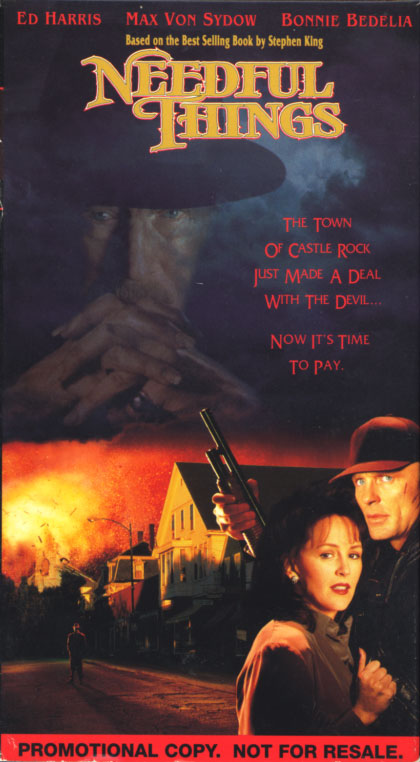 Needful Things VHS cover art. Movie starring Max von Sydow, Ed Harris, Bonnie Bedelia, Amanda Plummer, J.T. Walsh. Directed by Fraser Clarke Heston. From a Stephen King novel. 1993.