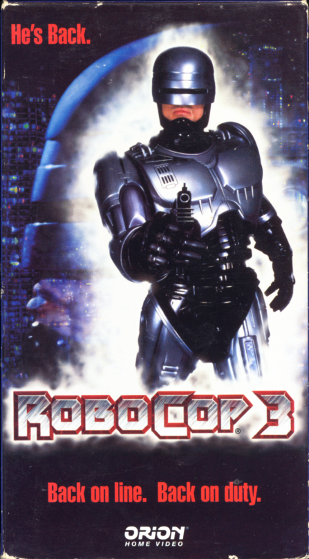 RoboCop 3 VHS cover art. Action crime drama movie starring Nancy Allen, Robert John Burke, Mario Machado, Remy Ryan, Rip Torn, CCH Pounder. Directed by Fred Dekker. 1993.