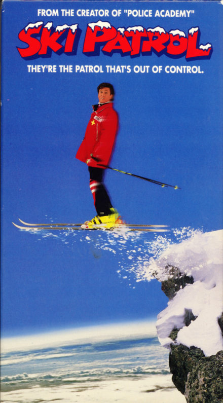 Ski Patrol VHS cover art. Skiing comedy movie starring Roger Rose, T.K. Carter, Yvette Nipar, Leslie Jordan, George Lopez, Corbin Timbrook, Ray Walston, Martin Mull. Directed by Richard Correll. 1990.
