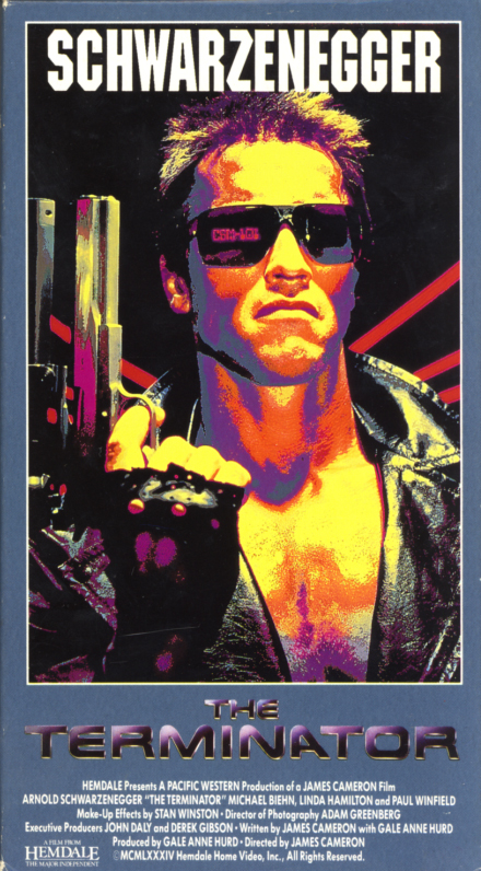 The Terminator VHS cover art. Action sci-fi movie starring Arnold Schwarzenegger, Linda Hamilton, Michael Biehn, Paul Winfield. Directed by James Cameron. 1984.