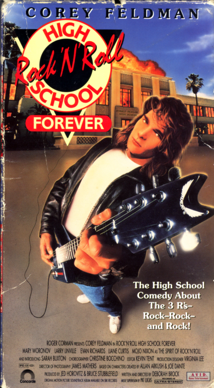 Rock 'N' Roll High School Forever VHS box cover art. Comedy music movie starring Corey Feldman, Larry Linville, Mary Woronov, Evan Richards, Liane Curtis, Sarah Buxton, Mojo Nixon. Directed by Deborah Brock. 1991.