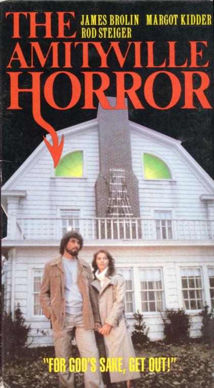 The Amityville Horror VHS box cover art. Horror movie starring James Brolin, Margot Kidder, Rod Steiger. With Don Stroud, Murray Hamilton. Directed by Stuart Rosenberg. 1979.