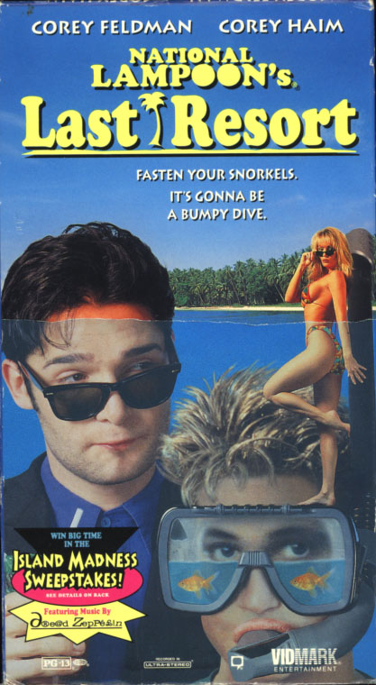 National Lampoon's Last Resort VHS box cover art. Comedy movie starring Corey Feldman, Corey Haim. With Maureen Flannigan, Robert Mandan, Geoffrey Lewis. Directed by Rafal Zielinski. 1994.