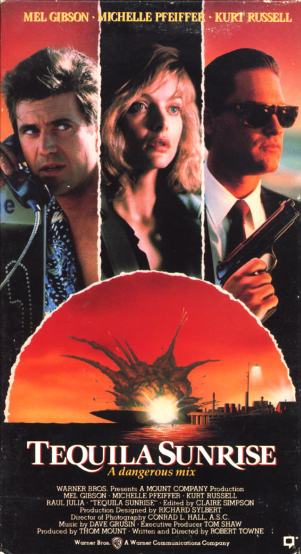 Tequila Sunrise VHS box cover art. Action crime romance movie starring Mel Gibson, Michelle Pfeiffer, Kurt Russell. With Raul Julia, J.T. Walsh. Directed by Robert Towne. 1988.