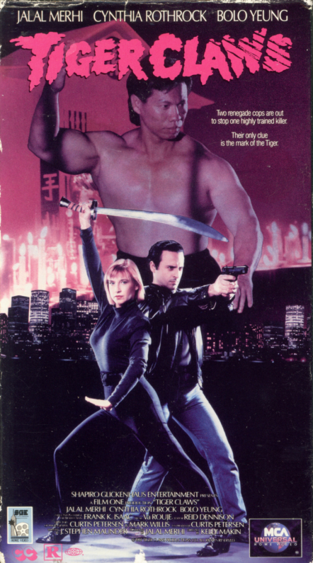 Tiger Claws VHS box cover art. Martial arts action movie starring Jalal Merhi, Cynthia Rothrock, Bolo Yeung. Directed by Kelly Makin. 1991.