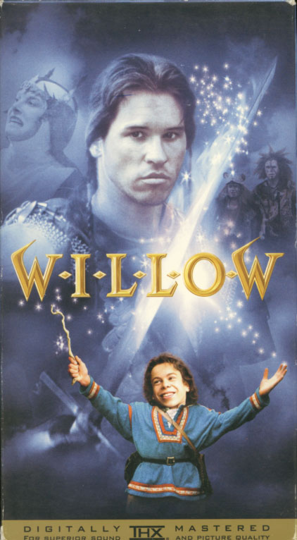 Willow VHS box cover art. Fantasy adventure movie starring Val Kilmer, Joanne Whalley, Warwick Davis, Billy Barty, Jean Marsh, Patricia Hayes. Story by George Lucas. Screenplay by Bob Dolman. Directed by Ron Howard. 1988