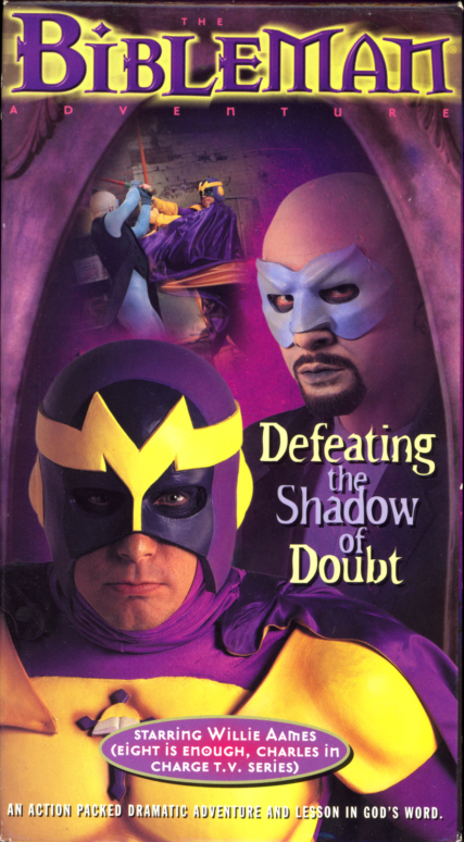 Bibleman: Defeating the Shadow of Doubt VHS box cover. Religious movie starring Willie Aames. Written and directed by Willie Aames. 1998.