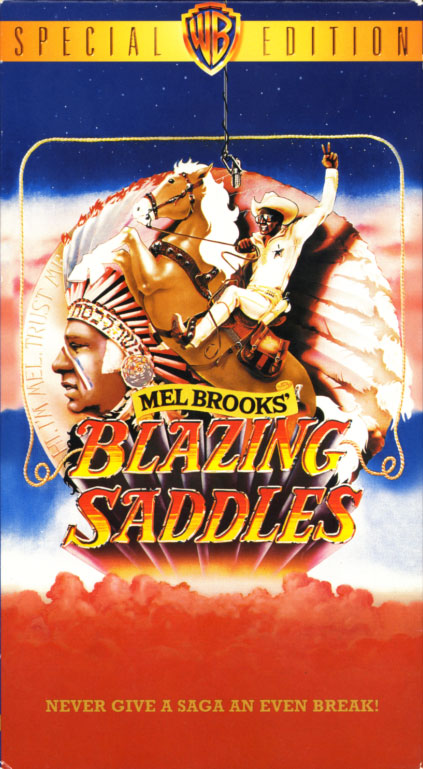 Blazing Saddles VHS cover art. Comedy western movie starring Cleavon Little, Gene Wilder, Slim Pickens, Harvey Korman, Madeline Kahn, Mel Brooks. With Alex Karras, David Huddleston, Liam Dunn, John Hillerman, George Furth, Dom DeLuise. Directed by Mel Brooks. 1974.