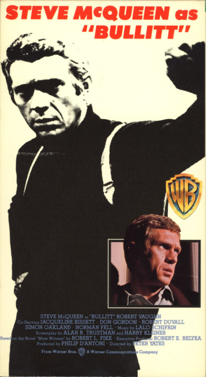 Bullitt VHS cover art. Action crime drama movie starring Steve McQueen. With Jacqueline Bisset, Simon Oakland, Don Gordon, Robert Duvall, Robert Vaughn, Norman Fell, Vic Tayback, Suzanne Somers. Directed by Peter Yates. 1968.