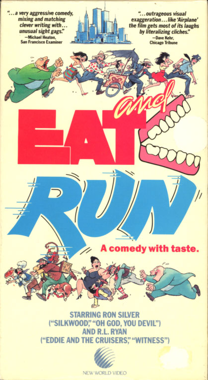 Eat and Run VHS box cover art. Comedy sci-fi movie starring Ron Silver, Sharon Schlarth, Pat Ryan, John J. Fleming. Directed by Christopher Hart. 1994.