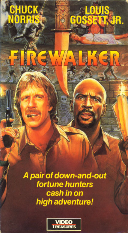 Firewalker VHS cover art. Action adventure movie starring Chuck Norris, Louis Gossett Jr., Melody Anderson. With Will Sampson, Sonny Landham, John Rhys-Davies, Ian Abercrombie. Directed by J. Lee Thompson. 1986.