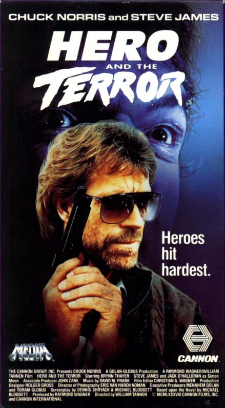 Hero And The Terror VHS cover. Action movie starring  Chuck Norris, Steve James, Jack O'Halloran, Brynn Thayer, Ron O'Neal, Jeffrey Kramer, Billy Drago, Murphy Dunne, Karen Whitter. Directed by William Tannen. 1988.