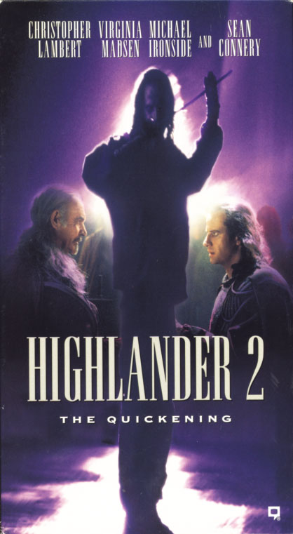 Highlander II: The Quickening VHS cover art. Action fantasy movie starring Christopher Lambert, Sean Connery, Virginia Madsen, Michael Ironside. Directed by Russell Mulcahy. 1991.