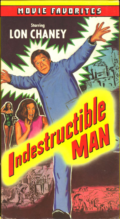 Indestructible Man on VHS. Classic crime horror sci-fi movie starring Lon Chaney Jr., Max Showalter, Marian Carr. Directed by Jack Pollexfen. 1956.