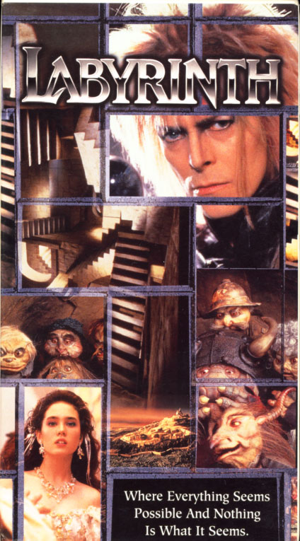 Labyrinth VHS cover art. Adventure fantasy movie starring David Bowie, Jennifer Connelly. With Toby Froud, Brian Henson, Christopher Malcolm. Directed by Jim Henson. 1986.
