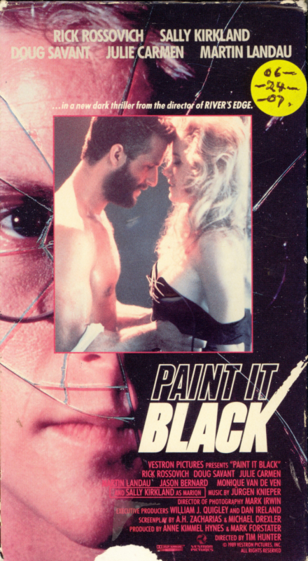 Paint It Black VHS box cover art. Horror thriller movie starring Sally Kirkland, Rick Rossovich, Martin Landau, Doug Savant, Julie Carmen. Directed by Tim Hunter, Roger Holzberg. 1990.