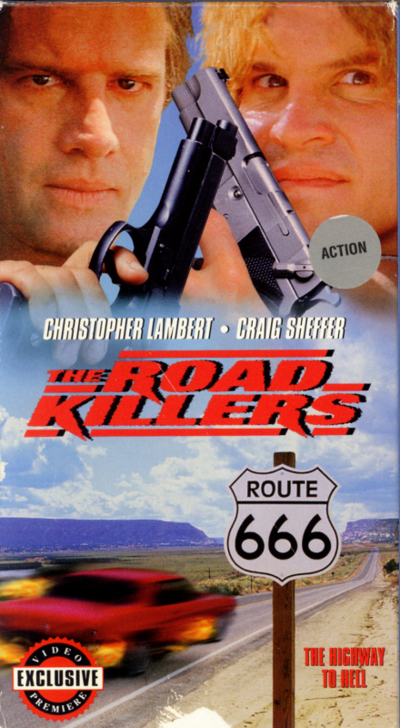 The Road Killers VHS box cover art. Action crime drama movie starring Christopher Lambert, Craig Sheffer, David Arquette, Josh Brolin, Michelle Forbes, Joseph Gordon-Levitt. Directed by Deran Sarafian. 1994.
