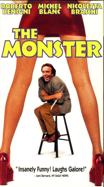 The Monster aka Il Mostro VHS box cover art. Comedy crime movie starring Roberto Benigni, Nicoletta Braschi, Michel Blanc, Jean-Claude Brialy, Roberto Corbiletto. Directed by Roberto Benigni. 1994.