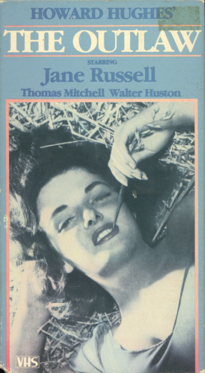 The Outlaw VHS cover art. Action drama western romance movie starring Jane Russell, Jack Buetel, Thomas Mitchell, Walter Huston. Directed by Howard Hughes. 1943.