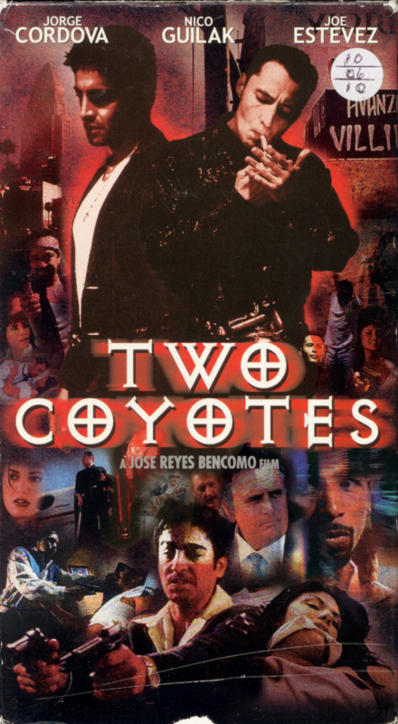Two Coyotes VHS box cover art. Action crime drama movie starring Jorge Cordova, Nicholas Guilak, Joe Estevez, Ricardo Molina, Jorge Soriano. Directed by Jose Reyes Bencomo. 2001.