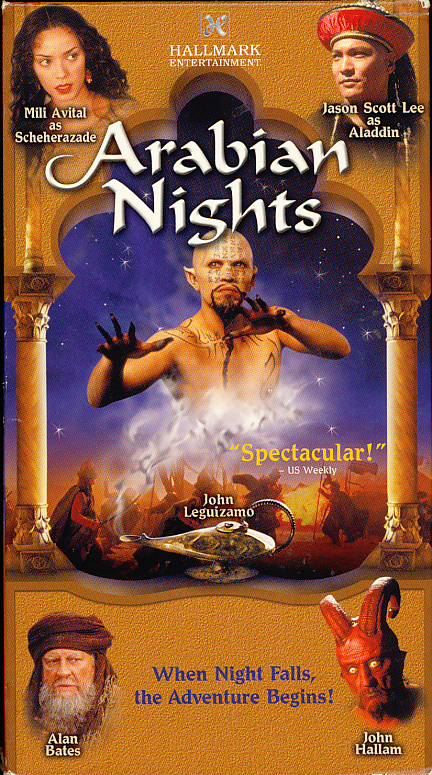 Arabian Nights on VHS. Starring Mili Avital, Alan Bates, James Frain, John Leguizamo, Tchéky Karyo, Jason Scott Lee, John Hallam, Dougray Scott. Directed by Steve Barron. 2000.