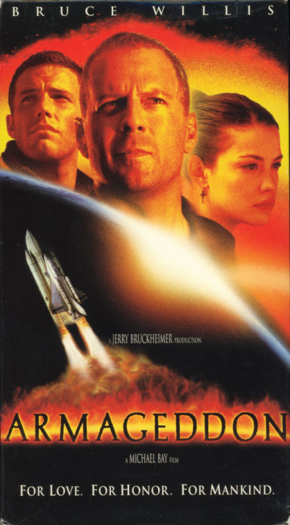 Armageddon VHS box cover art. Action adventure sci-fi movie starring Bruce Willis. With Billy Bob Thornton, Ben Affleck, Liv Tyler, Will Patton, Steve Buscemi, Keith David, Peter Stormare, Michael Clarke Duncan, Owen Wilson. Directed by Michael Bay. 1998.