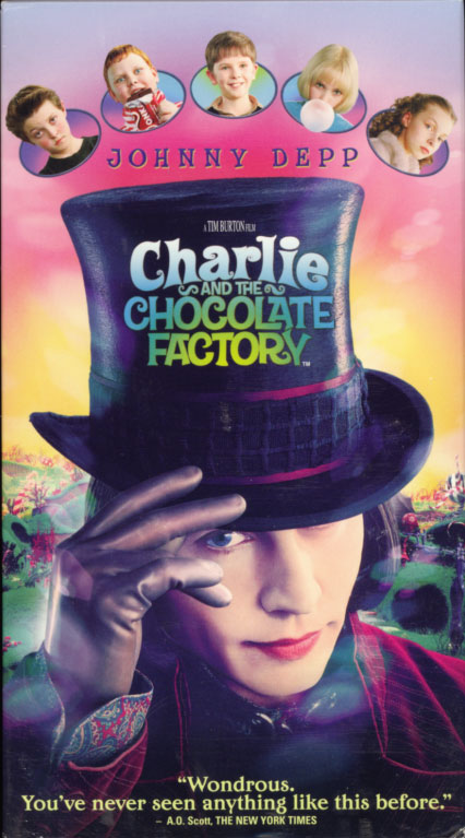 Charlie and the Chocolate Factory on VHS. Adventure comedy family movie starring Johnny Depp. With Deep Roy, Freddie Highmore, David Kelly, Helena Bonham Carter, Christopher Lee, Noah Taylor, Missi Pyle, James Fox. Based on the story by Roald Dahl. Directed by Tim Burton. 2005.