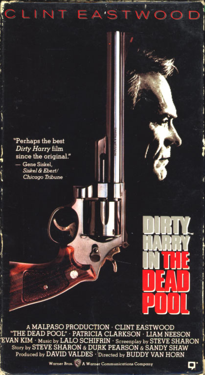 Dirty Harry In The Dead Pool on VHS. Action crime drama movie starring Clint Eastwood. With Liam Neeson, Patricia Clarkson, Evan C. Kim, David Hunt, Jim Carrey. Directed by Buddy Van Horn. 1998.