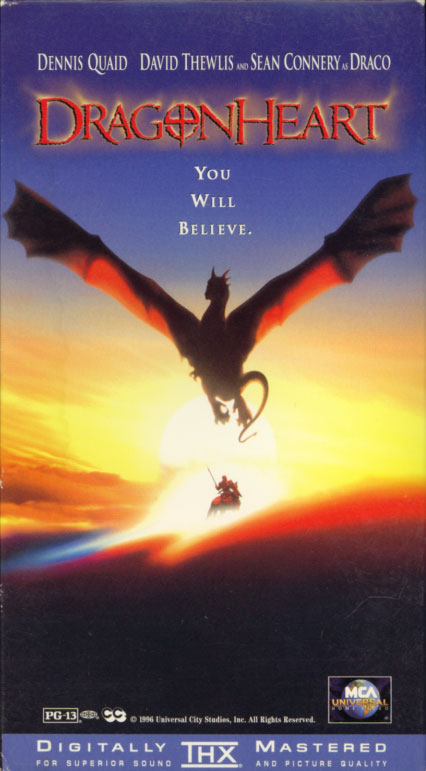 DragonHeart VHS b0x cover art. Action adventure fantasy movie starring Dennis Quaid, David Thewlis, Pete Postlethwaite, Dina Meyer, Jason Isaacs, Julie Christie, Sean Connery. Directed by Rob Cohen. 1996.
