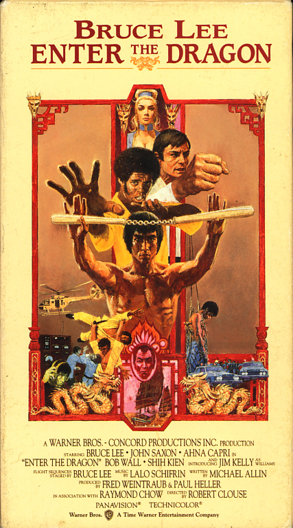 Enter The Dragon on VHS. Classic martial arts movie starring Bruce Lee, John Saxon, Ahna Capri, Kien Shih, Jim Kelly. Directed by Robert Clouse. 1973.