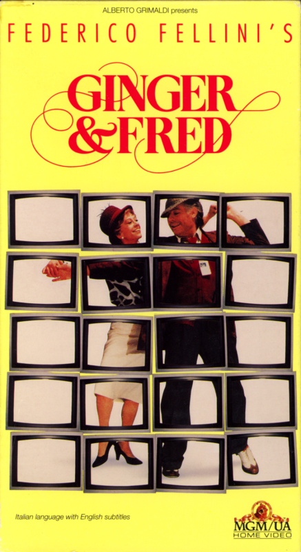 Federico Fellini's Ginger and Fred VHS box cover art. Italian comedy drama movie starring Marcello Mastroianni, Giulietta Masina. With Franco Fabrizi. Directed by Federico Fellini. 1986.