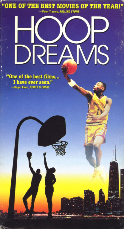 Hoop Dreams on VHS. Sports documentary movie starring William Gates, Arthur Agee. Directed by Steve James. 1994.