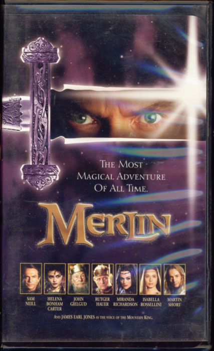 Merlin on VHS. Adventure drama fantasy movie starring Sam Neill, Helena Bonham Carter, John Gielgud, Rutger Hauer, Isabella Rossellini, Miranda Richardson, Martin Short, James Earl Jones. Directed by Steve Barron. 1998.