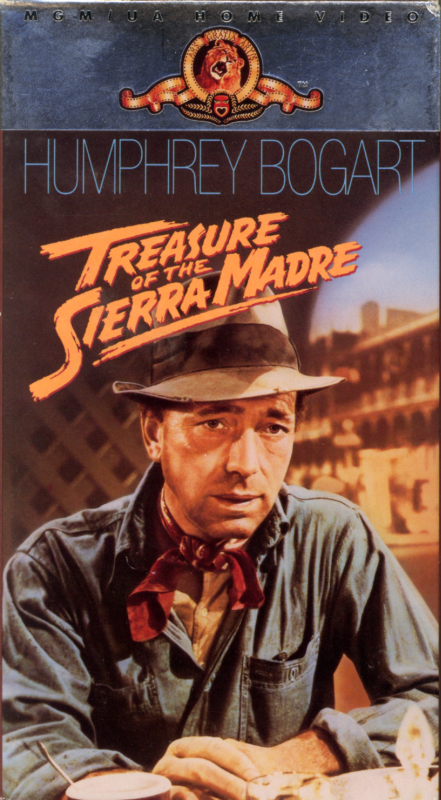 Treasure of the Sierra Madre on VHS. Classic action adventure drama film starring Humphrey Bogart, Walter Huston, Tim Holt. With Bruce Bennett, Alfonso Bedoya. Directed by John Huston. 1948.
