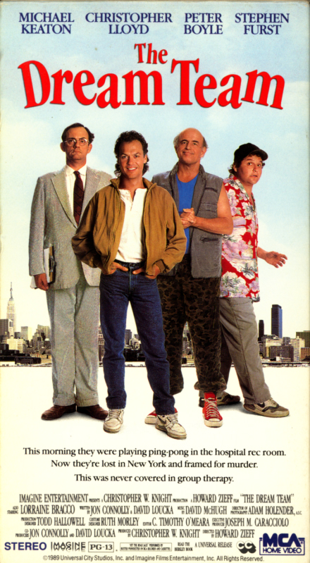 The Dream Team VHS box cover. Comedy movie starring Michael Keaton, Christopher Lloyd, Peter Boyle, Stephen Furst, Lorraine Bracco, Dennis Boutsikaris. Directed by Howard Zieff. 1989.