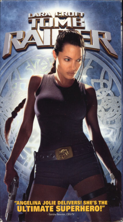 Lara Croft: Tomb Raider VHS box cover art. Action adventure fantasy movie starring Angelina Jolie. With Jon Voight, Iain Glen, Noah Taylor, Daniel Craig. Directed by Simon West. 2001.