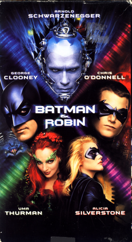 Batman & Robin on VHS. Action adventure movie starring Arnold Schwarzenegger, George Clooney, Chris O'Donnell, Uma Thurman, Alicia Silverstone. Directed by Joel Schumacher. 1997.