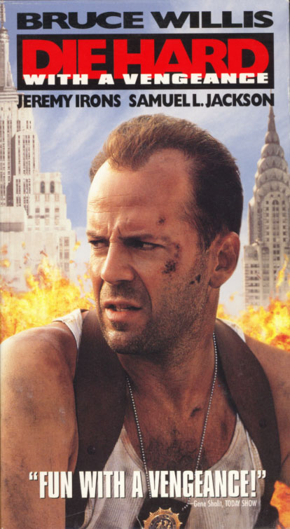 Die Hard: With A Vengeance VHS cover. Action crime thriller movie starring Bruce Willis, Jeremy Irons, Samuel L. Jackson. With Graham Greene, Colleen Camp. Directed by John McTiernan. 1995.