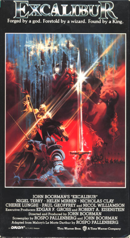 VHS covers: Excalibur. Adventure fantasy movie starring Nigel Terry, Helen Mirren, Nicholas Clay, Cherie Lunghi, Paul Geoffrey, Nicol Williamson. With Liam Neeson, Patrick Stewart. Based on the Arthurian legends written by Sir Thomas Malory. Directed by John Boorman. 1981.