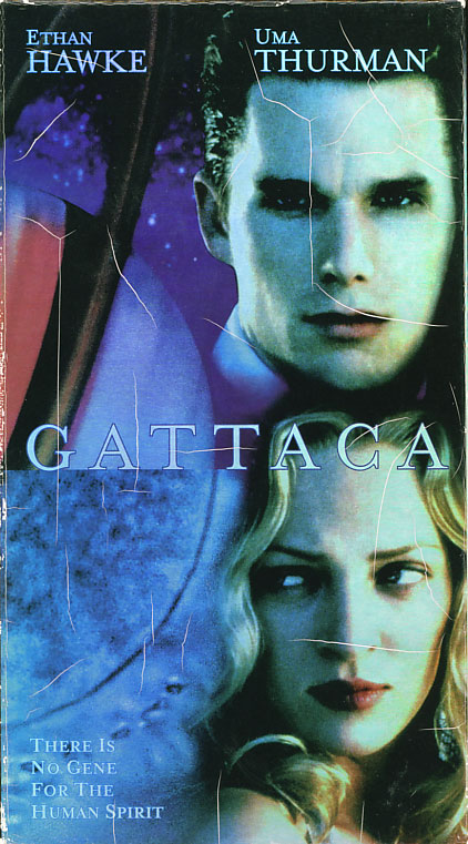 Gattaca VHS box cover art. Drama romance sci-fi movie starring Ethan Hawke, Uma Thurman, Alan Arkin, Jude Law, Gore Vidal. Directed by Andrew Niccol. 1997.