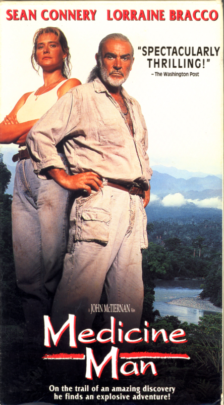 Medicine Man VHS cover. Adventure drama romance movie starring Sean Connery, Lorraine Bracco. Directed by John McTiernan. 1992.