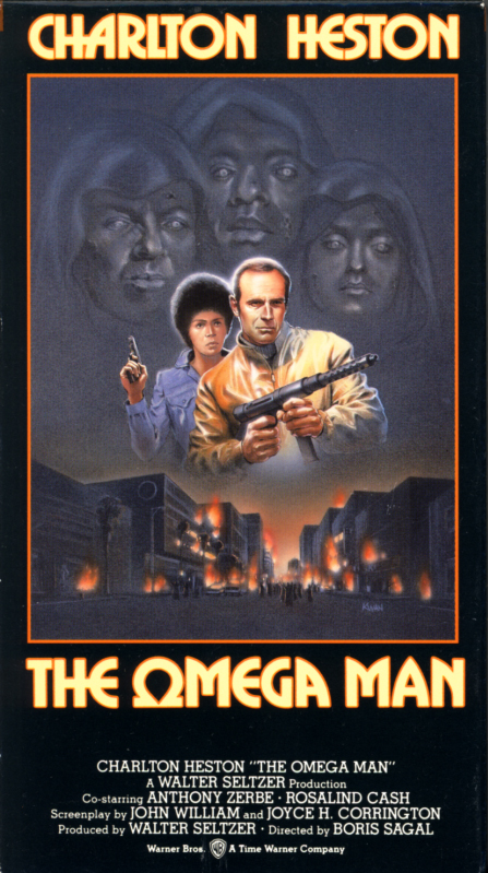 The Omega Man VHS box cover art. Action sci-fi thriller movie starring Charlton Heston, Rosalind Cash, Anthony Zerbe. Directed by Boris Sagal. Based on the novel I Am Legend by Richard Matheson. 1971.