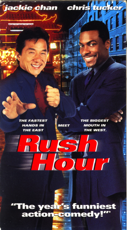 Rush Hour VHS cover. Action comedy thriller movie starring Jackie Chan, Chris Tucker. Directed by Brett Ratner. 1998.