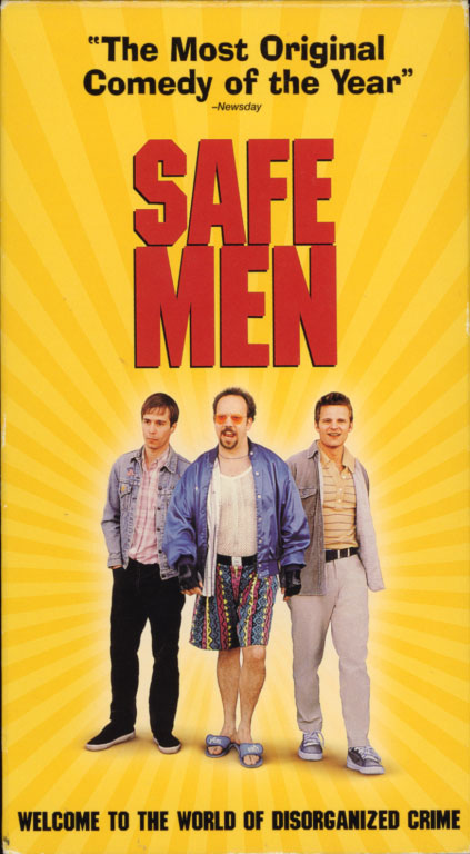 Safe Men VHS box cover. Comedy crime movie starring Sam Rockwell, Steve Zahn, Michael Lerner, Paul Giamatti. With Michael Schmidt, Josh Pais, Mark Ruffalo, Christina Kirk. Written and directed by John Hamburg. 1998.