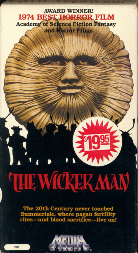 The Wicker Man VHS cover. Horror mystery cult classic movie starring Edward Woodward, Christopher Lee, Diane Cilento, Britt Ekland, Ingrid Pitt. Directed by Robin Hardy. 1973.
