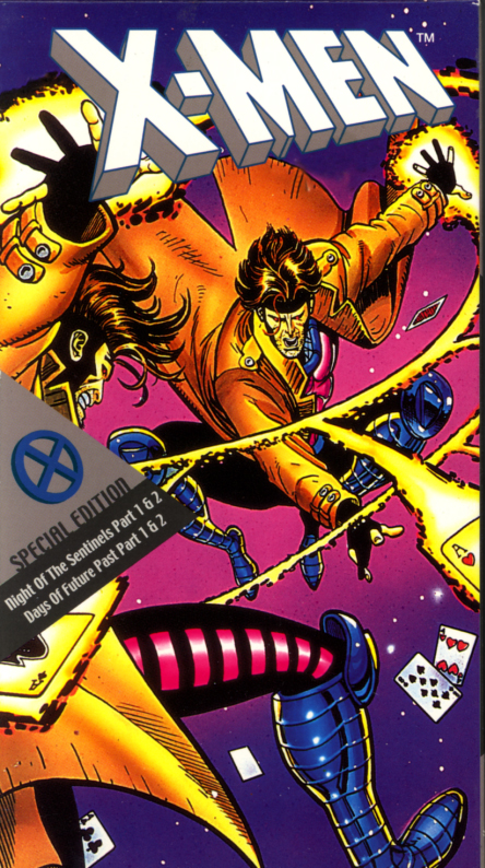 X-Men: The Animated Series on VHS. Episodes: Night Of The Sentinels Part 1 & 2 and Days Of Future Past Part 1 & 2. Starring Cedric Smith, Cathal J. Dodd, Norm Spencer, Iona Morris. Directors: Larry Houston and Richard Bowman. 1992.